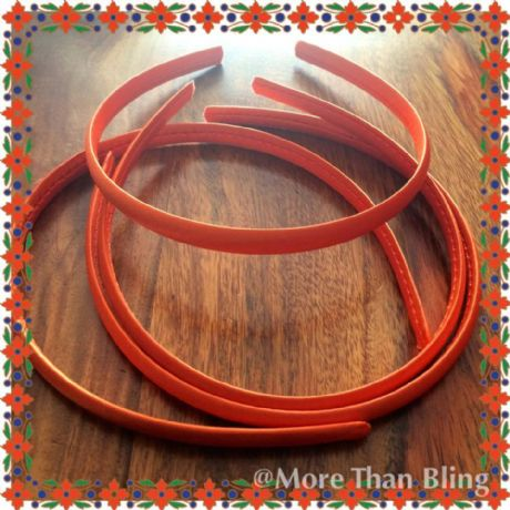10MM ORANGE SATIN COVERED HEADBAND